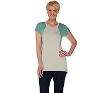 LOGO by Lori Goldstein Color-Block Short Sleeve Knit Top - A274990