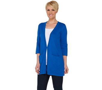 Joan Rivers Wardrobe Builders Cardigan w/ Tab Sleeve Detail - A275590