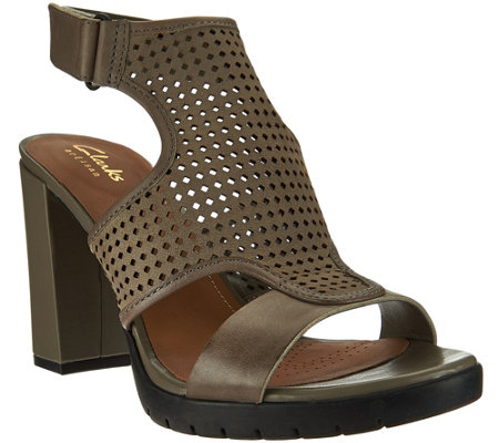 Clarks Artisan Leather Perforated Sandals - Pastina Lima