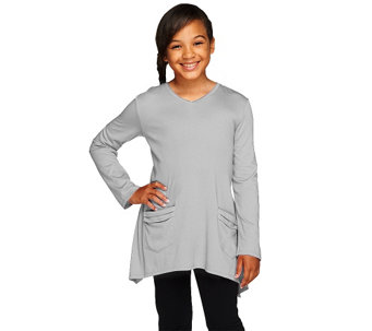 """As Is"" LOGO Littles by Lori Goldstein Long Sleeve V-neck Top w/ Pockets - A276290"