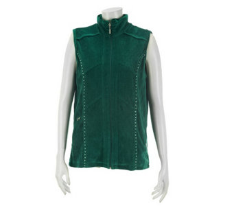 """As Is"" Quacker Factory Zip Front Velour Vest with Sparkle Detail - A278190"