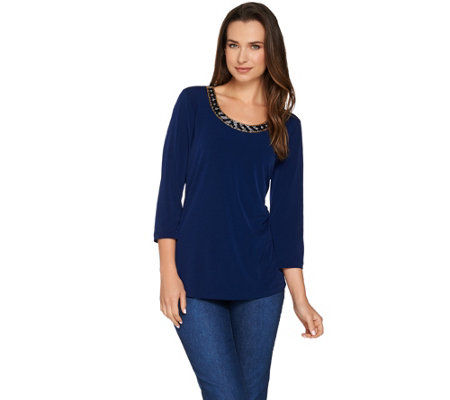 Susan Graver Artisan Liquid Knit 3/4 Sleeve Top