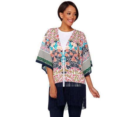 C. Wonder Engineered Print Kimono with Fringe Hem