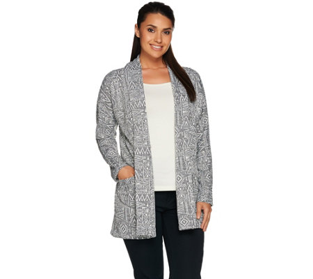 LOGO by Lori Goldstein Open Front Knit Jacquard Cardigan