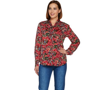C. Wonder Tie Neck Floral Print Button Front Blouse - A280090