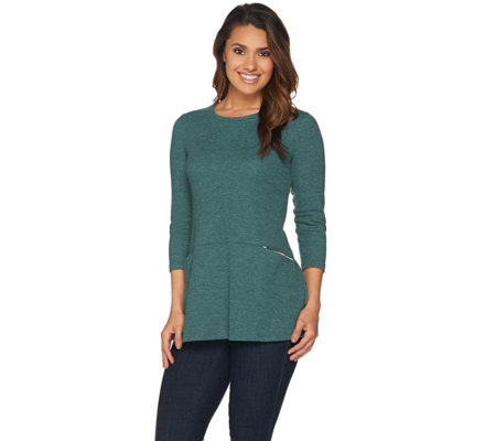 LOGO by Lori Goldstein Waffle Knit Top with Contrast Pockets