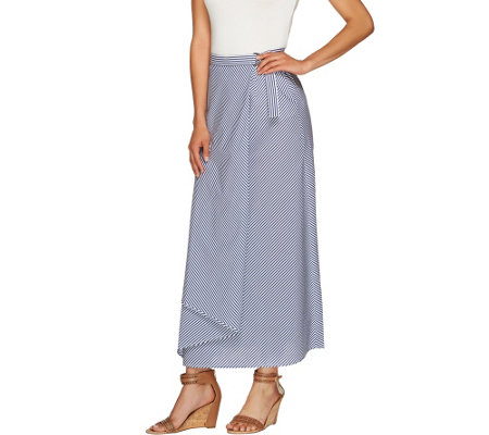 """As Is"" G.I.L.I. Petite Striped Wrap Front Maxi Skirt"