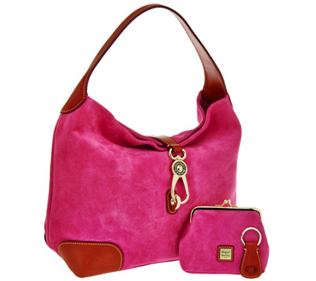 Dooney & Bourke Suede Hobo with Logo Lock and Accessories