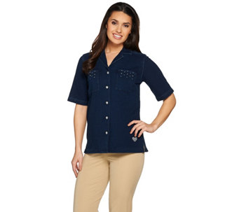 Quacker Factory DreamJeannes Eyelet Short Sleeve Camp Shirt - A287090