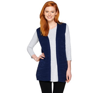 Lisa Rinna Collection Jacquard Sweater Duster Vest - A287390