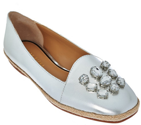 """As Is"" Judith Ripka Leather Espadrilles w/ Jewel Detail - Olivia"
