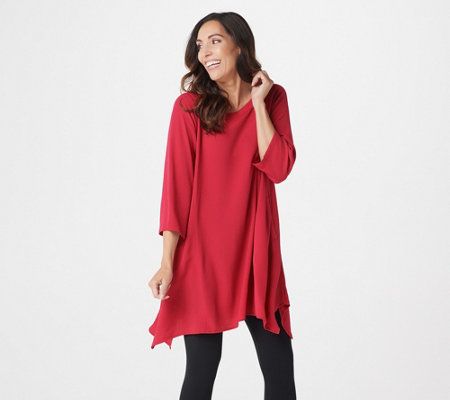 Linea by Louis Dell'Olio Regular Pebble Crepe Boatneck Tunic