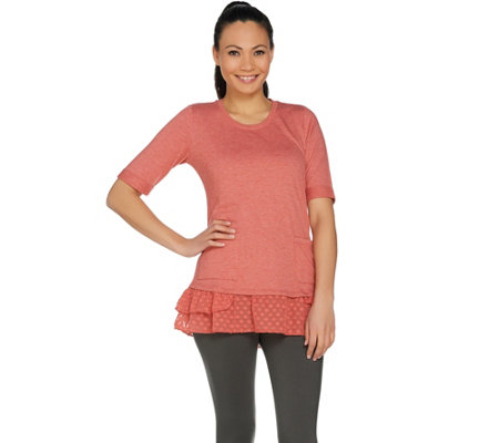 LOGO Lounge by Lori Goldstein French Terry Top with Woven Ruffles