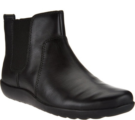 """As Is"" Clarks Collection Nubuck Leather Chelsea Boots - Medora Grace"