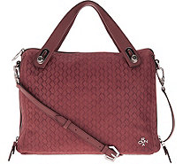 orYANY Embossed Woven Leather Satchel -Kaley - A289590