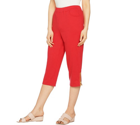 Quacker Factory Anchors Away French Terry Pull-On Capri Pants