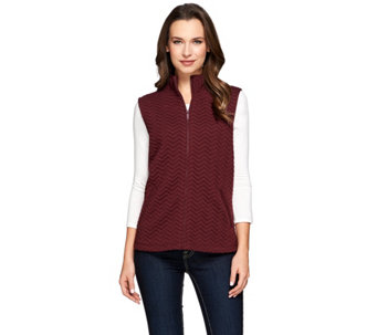 """As Is"" Liz Claiborne New York Chevron Quilted Zip Front Vest - A290090"