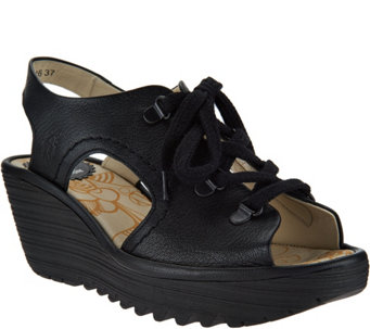 FLY London Leather Lace-Up Wedge Sandals - Ylfa - A290390
