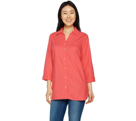 Belle by Kim Gravel Stretchabelle 3/4 Sleeve Linen Shirt