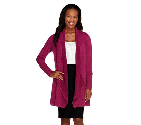 """AsIs""Attitudes by Renee Petite Combed Knit Drape Front Cardigan"