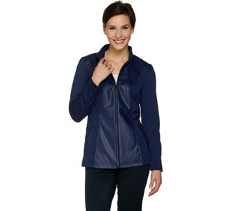 """As Is"" Dennis Basso Faux Leather & Ponte Knit Zip Front Jacket - A293190"