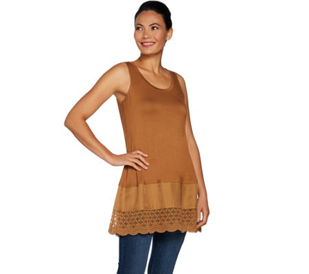 LOGO Layers by Lori Goldstein Solid Tank with Woven and Lace Bottom Band
