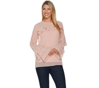 Peace Love World Ruffle Sleeve Top With Camisole A