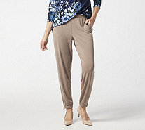 Susan Graver Petite Liquid Knit Jogger Pants w/ Zipper Detail - A296290