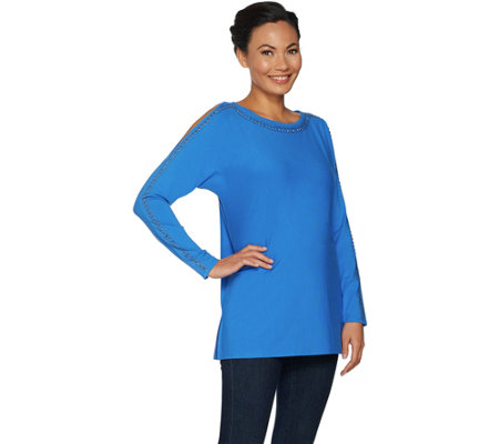 Belle by Kim Gravel Cold Shoulder Embellished Top