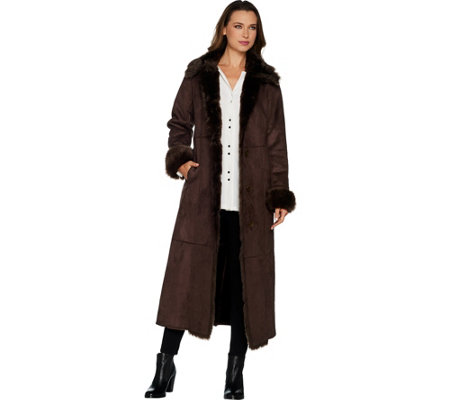Dennis Basso Full Length Faux Shearling Coat with Faux Fox Trim ...