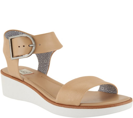 """As Is"" ED Ellen DeGeneres Leather Wedge Sandals - Stella"