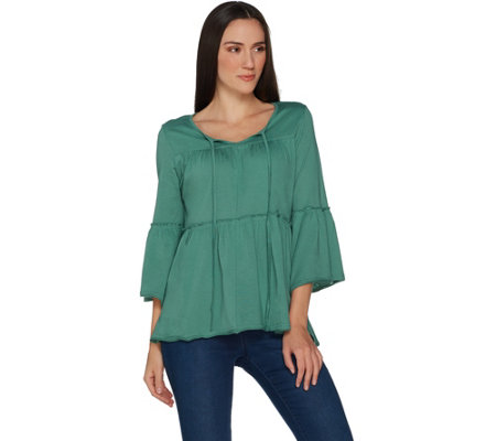 Laurie Felt Bohemian Knit Top with Keyhole Neck