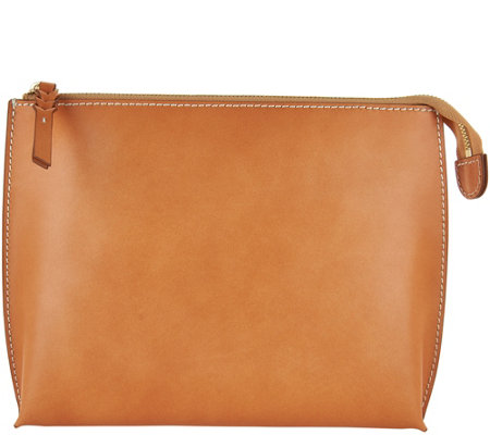 """As Is"" G.I.L.I. Italian Leather Pick-Stitch Pouch"