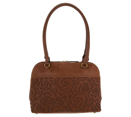 Tignanello Vintage Leather Floral Dome Shopper- Florence
