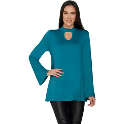 """As Is"" Laurie Felt Knit Top with Choker Neckline Detail"