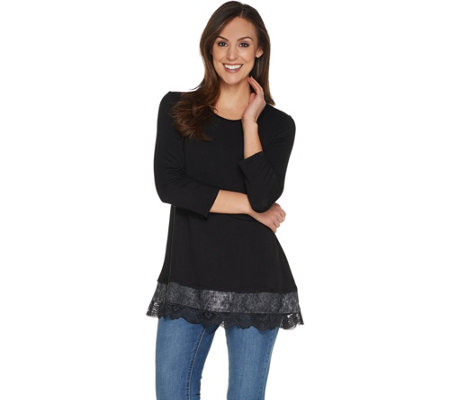 """As Is"" LOGO by Lori Goldstein 3/4 Sleeve Knit Top w/Woven and Lace Trim"