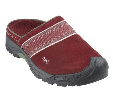 Ryka WaterResistant Suede Clogs with Faux Shearling Liner