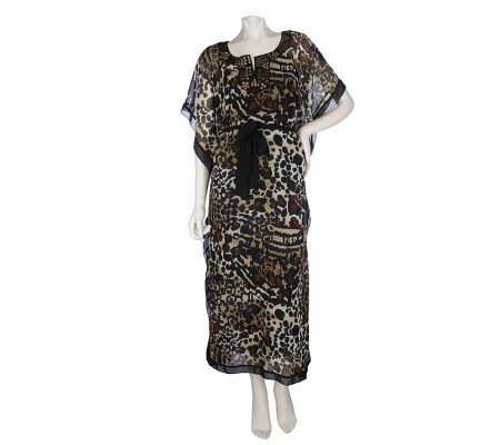 M by Marc Bouwer Animal Printed Caftan with Embellishment