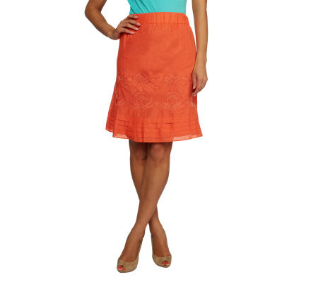Isaac Mizrahi Live! A-Line Pull-On Skirt with Embroidery