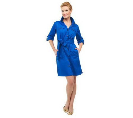 Joan Rivers Tailored Shirt Dress with Tie Belt