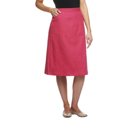 Denim & Co. Classic Waist Colored Denim Skirt - Page 1 — QVC.com