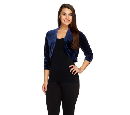 Susan Graver Velvet Shrug with 3/4 Ruched Sleeves
