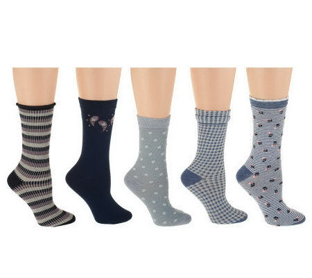 Passione Set of 5 Cotton Blend Wardrobe Crew Socks