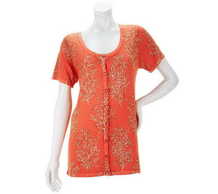 Quacker Factory Coral Printed Short Sleeve Cardigan