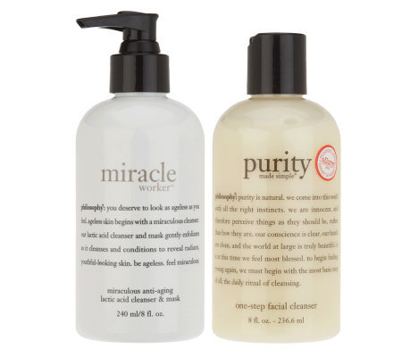 philosophy miracle worker & purity made simple cleanser duo, 8 oz.