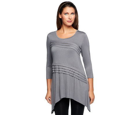 LOGO by Lori Goldstein Pleated Elbow Sleeve Knit Top