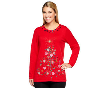 Quacker Factory Tree of Light Scoopneck Pullover Sweater - A239291