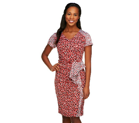 Status by Star Jones Printed Side Drape Dress