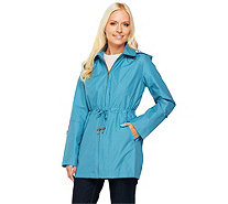Dennis Basso Anorak Jacket with Stripe Lining and Removable Hood - A252591