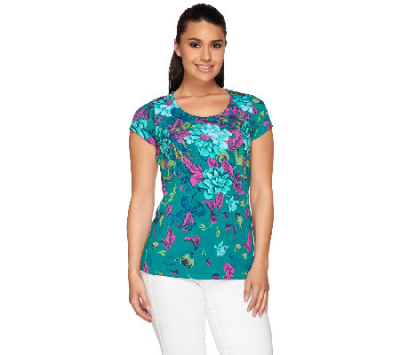 Isaac Mizrahi Live! Safari Floral Printed Knit Top